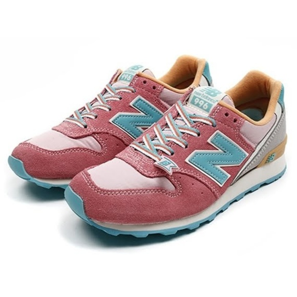 New Balance WR996 Pink Green Womens Sneakers